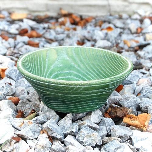 Vintage Wooden Bowl - Green Dream
