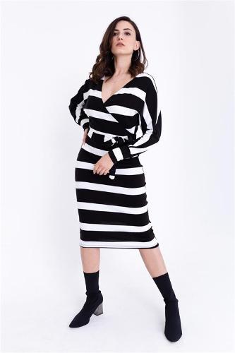Women Black-breasted Collar Striped Sweater Dress