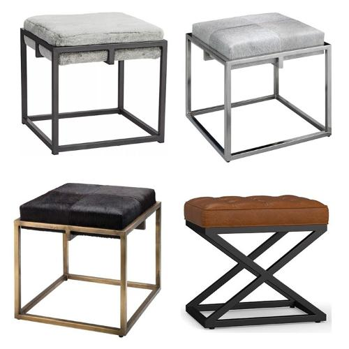 Modern Fashion Square Fur Low Stool with Iron foot