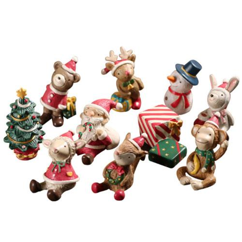 Resin cute animal xmas mini fgurine christmas decoration