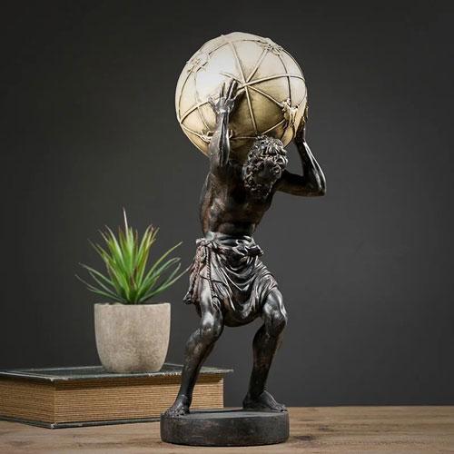 Polystone resin antique ancient Greek Titan god Altas statue