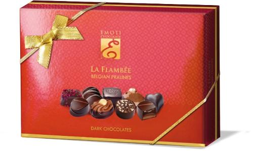 EMOTI Dark Chocolates, La Flambee 120g (bow decorated). SKU: