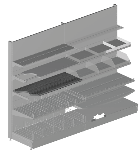 Modular shop rack systems & instore interior shelving design