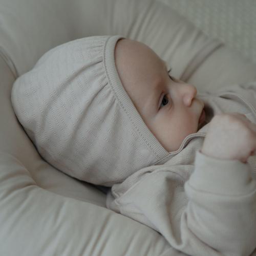 Openwork cotton cap Almond
