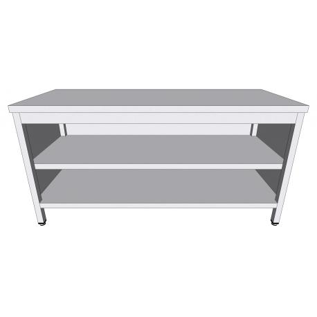 Table-armoire centrale ouverte en inox profondeur 70cm