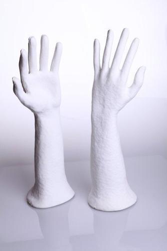 """Schmuckdisplay """"ÖKO"""" Hand Größe 39x12cm, Farbe: weiß"""