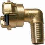 GEKA angled hose piece, 360 rotating, bright brass, I.D. 32
