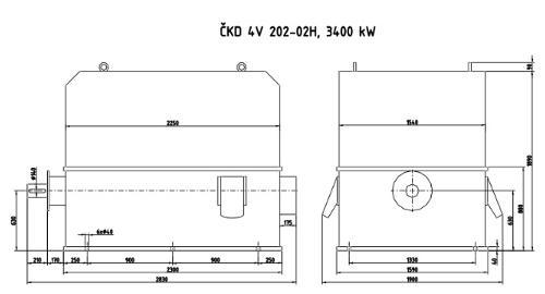 3400 kW motor na prodej - ČKD 4V 202-02H