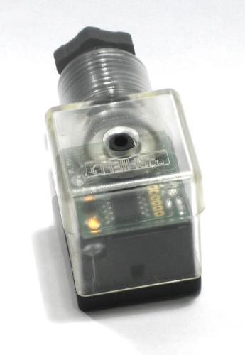Power saving DIN connector for solenoid valves