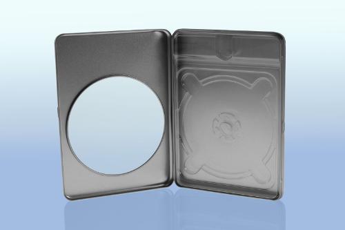 Metalldose im Standard DVD Format mit Sichtfenster für...