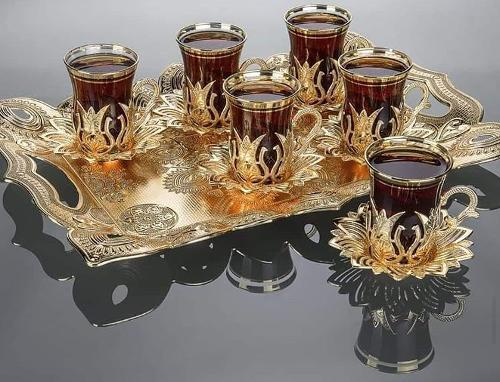 Türk çay bardak takımı Çay bardak seti 6 kişilik çay takımı