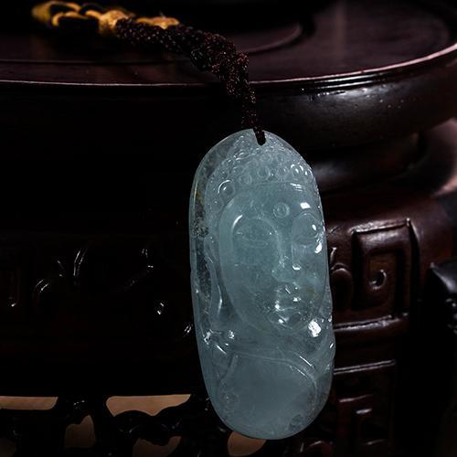 Природные аквамарин вырезанные части головы Будды-образный