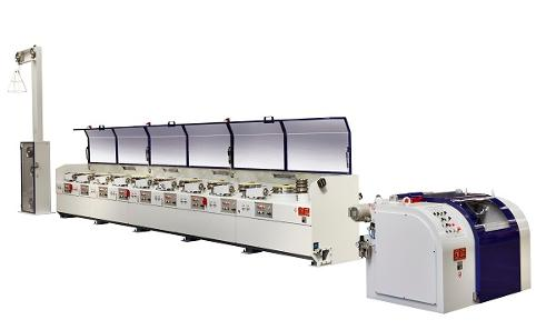 Straight-line multipass wire drawing machines