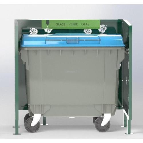 Cache Poubelle Conteneur Hibiscus En U Recyclage Verre