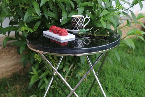 Toros Black Marble Coffee Table-chrome Leg