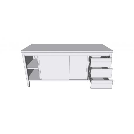 Table-armoire centrale à portes coulissantes en inox