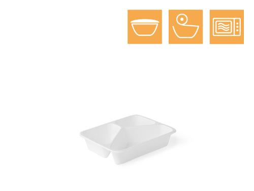 PP tray, 3-comp