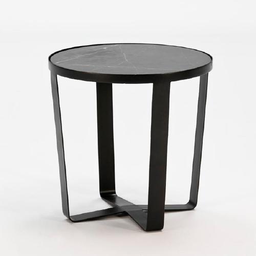 Hilfstisch 55x55x55 Metall / Marmor Schwarz - Niedrige Tische