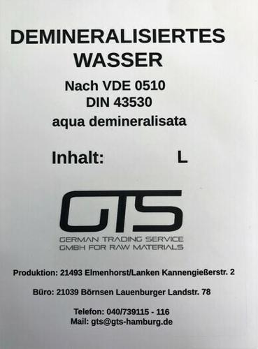VE-Wasser, demineralisiertes Wasser