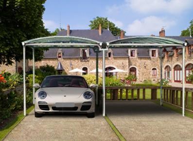 Abri voiture double en métal gainé PVC