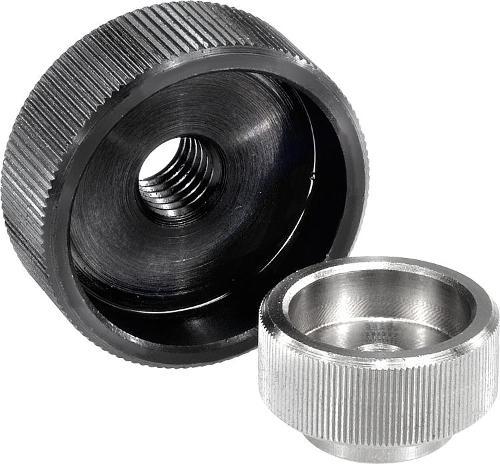 Ecrou moleté en acier ou Inox DIN 6303