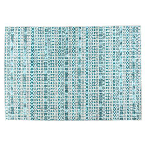 Tapis graphique rectangulaire SELINA (bleu)