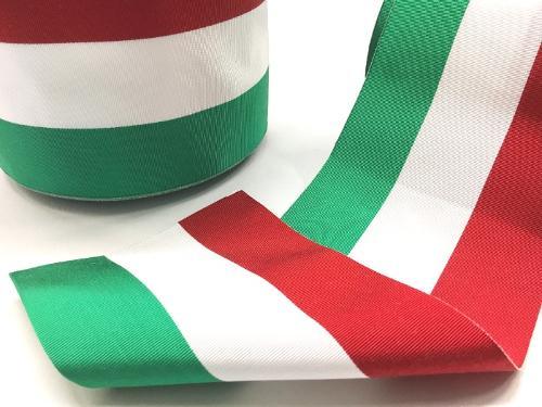 Nastro tricolore gros grain canettato, cm 12