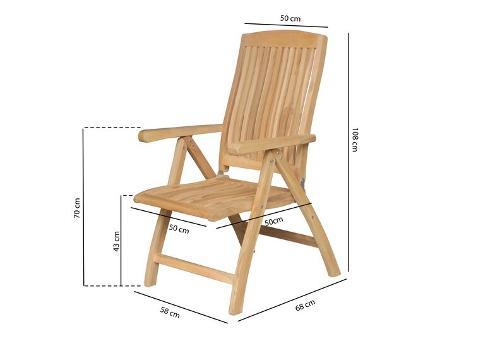 Garden Teak reclining chair  Linda