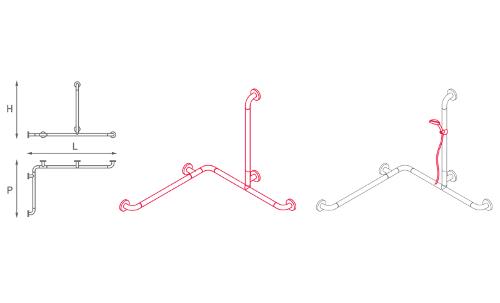 Maniglione ad angolo con montante centrale
