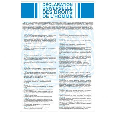 Plaque D'intérieur Déclaration Universelle Des Droits De L'homme Et Du Citoyen