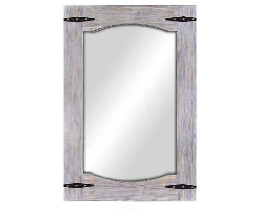 Antique Gray Rectangular Wooden Frame Mirror