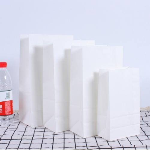 White Block Bottom Kraft Bags