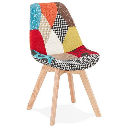 Chaise bohème patchwork en tissu pieds bois MARIKA