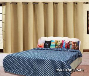 India Kantha quilt, indigo blue block printed kantha quilt