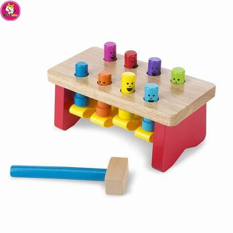 Creative colorful hammer knock educational game wooden toy