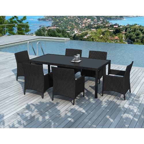Table à manger, 6 fauteuils de jardin PALMAS résine tressée