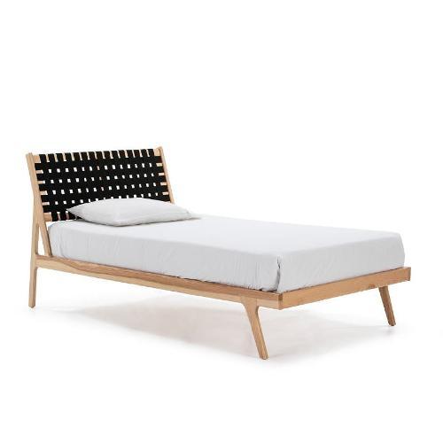 Bett 112x205x97 Eschenholz Natürlich/stoff Schwarz - Betten, Schubladen