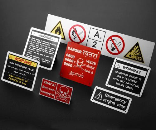 Anodized aluminum warning labels