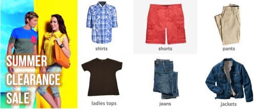 Liquidation de vêtements d'été - Hommes et femmes