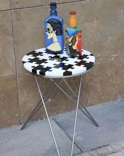 Puzzle Marble Coffee Table-chrome Leg