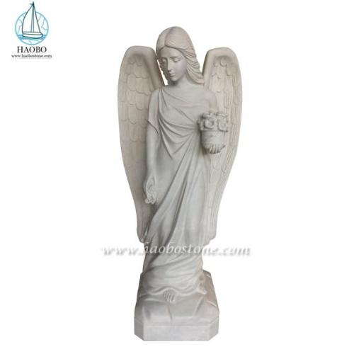 White Marble Sculpture Angel Holding Flower Carved Statues