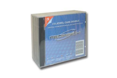CD Jewelcase 2-fach - 5er Pack - MPI - mit schwarzem...