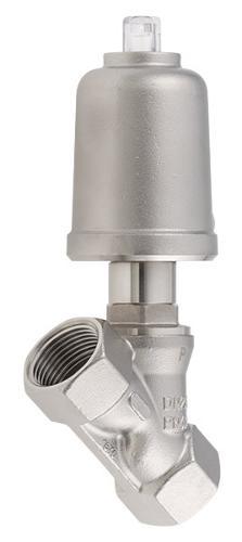 Pneumatically operated angle seat valve