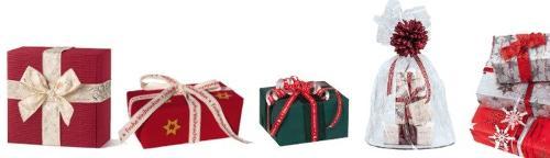 Geschenkpapiere, Geschenkbänder und weiteres Zubehör