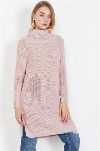 Women's Powder Funnel Collar Sweater Tunic