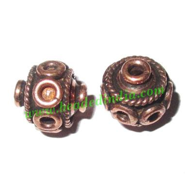 Copper Metal Beads, size: 10.5x11mm, weight: 2.07 grams.