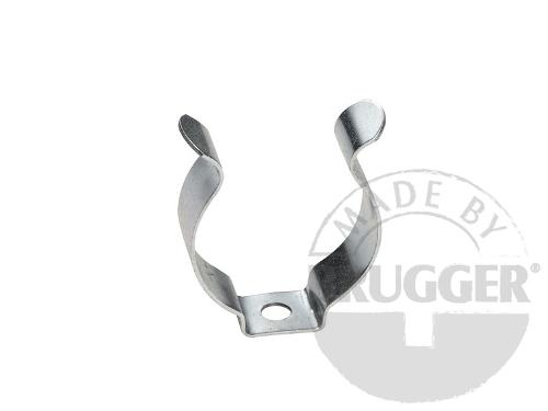 Clamp made of metal with bore, galvanized