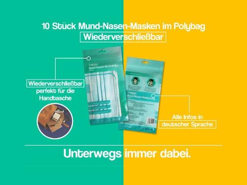 Mund- und Nasenmasken (10 Stück / Packung)