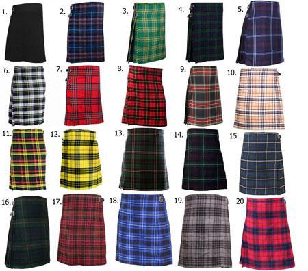 Scottish Mens Kilt Traditional Highland Dress Skirt Tartan K