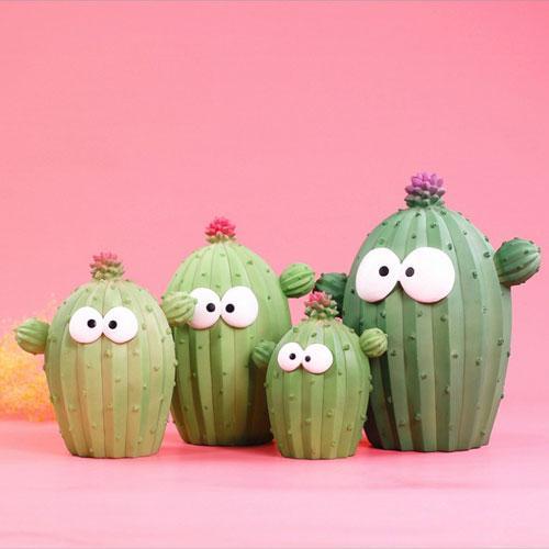 Custom resin big eyes cartoon cactus kids coin bank